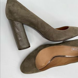 Coach Ophelia block heel suede shoes olive